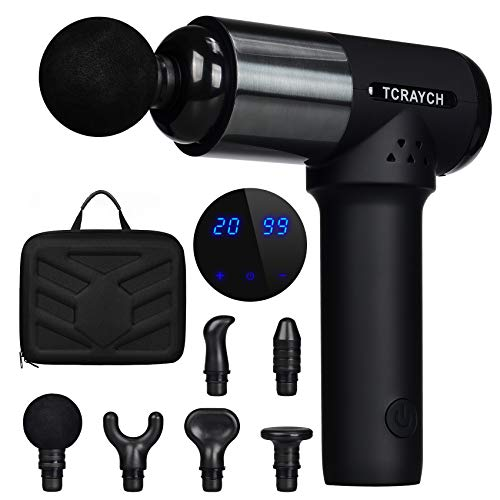 TCRAYCH Muscle Massage Gun, 20 Adjustable Speeds 6 Heads, Deep Tissue Percussion Quiet Cordless Handheld Massager, Fascial Gun for Muscle Soreness Fitness Pain Relief Relaxation and Home Office Gym