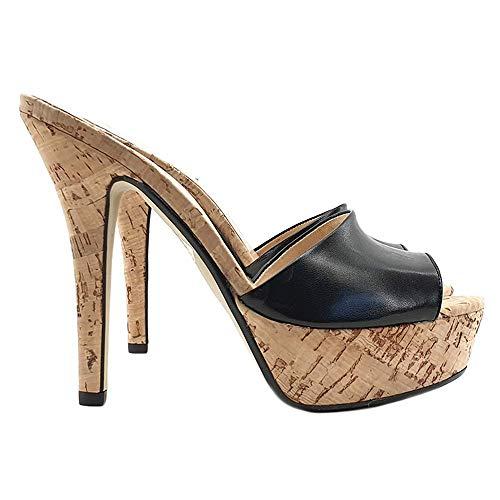 Kiara Shoes Zoccolo Sexy Fascia Nera in Pelle Base in Sughero - KE103-NERO (41 EU, Nero)