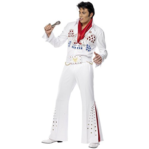Elvis Presley American Eagle Adult Fancy Dress Costume, Jumpsuit With Belt and Scarf Las Vegas The King Stag Do With/Without Quiff Wig and Side Burns (Elvis Jump Suit Only)