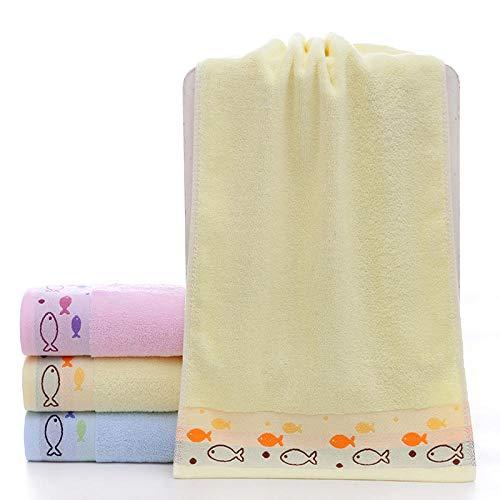 Fuduoduo Toalla de Suave y Absorbente,Toalla Suave Absorbente Lisa de algodón Puro 35 * 75-Amarillo 3 Piezas,100% AlgodóN Conjunto Pieza Toalla