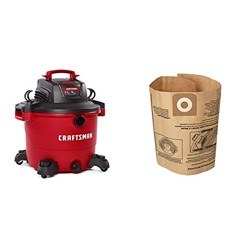 CRAFTSMAN CMXEVBE17595 16 Gallon 6.5 Peak HP Wet/Dry Vac, Heavy-Duty Shop Vacuum with Attachments & CMXZVBE38749 General Purpose Wet/Dry Shop Vacuum Dust Collection Bags, 3-Pack