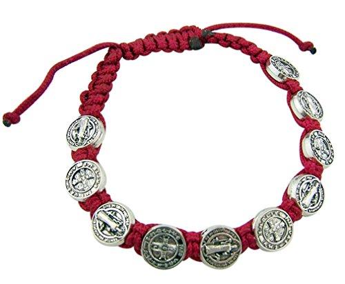 Saint St Benedict Medal on Adjustable Red Cord Bracelet, 8 Inch