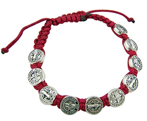 Saint St Benedict Medal on Adjustable Red Cord Bracelet, 8 Inch