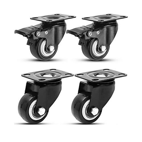 BECCYYLY Hjul 80Kg 4st Möbler Hjul Hjul Mjukt Gummi Svänghjul Silver Rullhjul För Plattform Vagnstol