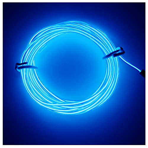 Amicc 3m 9ft Portable Neon Light El Wire with Battery Pack Neon Glowing Strobing Electroluminescent Wire for Parties, Halloween Decoration (3m 9ft, Blue)