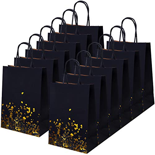Cooraby 20 Pieces Bronzing Kraft Paper Bag Bride Gift Bag Hen Party Bags Paper Party Bags with Handle for Party Favors