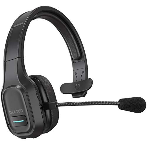 Delton Professional Wireless Computer Headset with Mic | On Ear Bluetooth 5.0 Wireless Headset, 30 Hour All Day Talk Time for Truck Drivers, Home Office, Call Centers (Headset Only, 1-Pack)