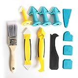 Limpiador de silicona, herramienta de juntas de silicona, multifunción, 12 en 1, rasqueta profesional de silicona, set con junta, removedor de sellado, boquilla Caulk para cocina y baño (12 unidades)
