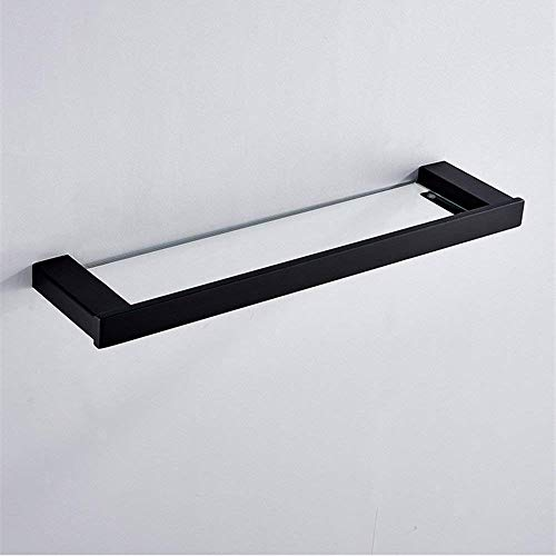 Badkamer plank zwart 304 roestvrij staal geen boren frame gehard glas spiegel frame enkele laag dressoir rack 500 * 120 * 35mm