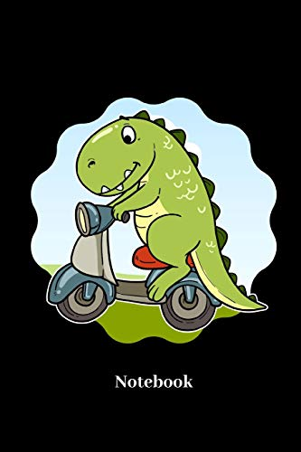 Notebook: Lined journal for scooter, scoot, dino, moped, T-Rex and dinosaur fans - paperback, sketchbook, diary gift for men, women and children