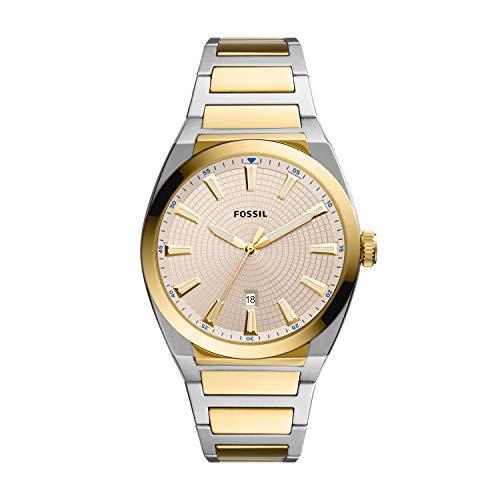 Fossil - Reloj de Acero Inoxidable Everett ThreeHand Date para Hombre, FS5823