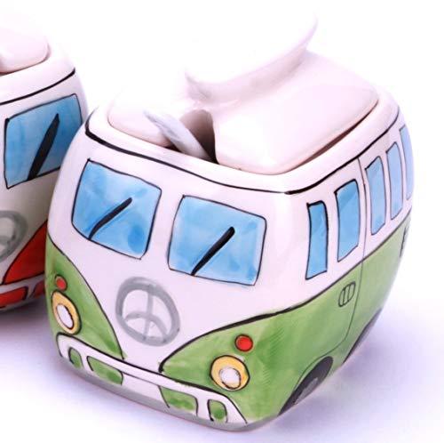 24-7sale Camper Bus Zuckerdose/Zucker Pott aus Keramik, Farbe wählbar Rot Blau Grün Orange (Gruen)