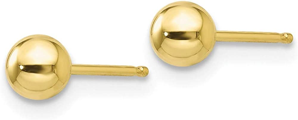 10k Yellow Gold 4mm Ball Post Stud Earrings Button Fine Jewelry For Women Gifts For Her