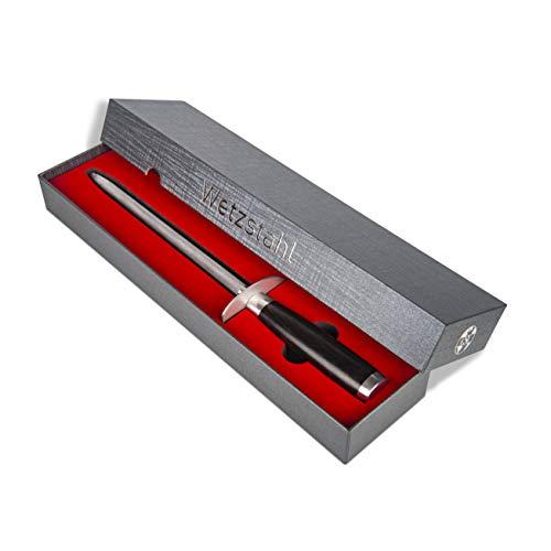 CSL Home Profi Wetzstahl Messerschärfer mit Griff aus Pakka Holz in edler Geschenkbox, Wetzstab, Messerschaerfer, Messerschleifer mit 23 cm Klinge, großzügiger Schutzring