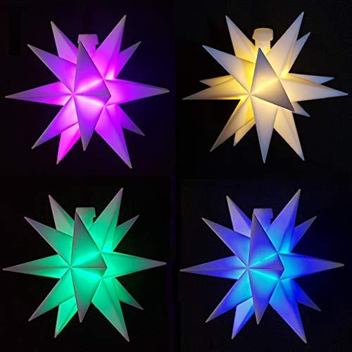 Weihnachtsstern Stern mit Farbwechsel 11,5cm LED mit Timer und Batterie Innenstern 3D Adventsstern Stern Leuchtstern