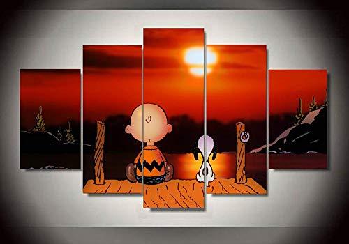 65Tdfc - 5 Teilig Leinwandbilder - Erdnüsse - Snoopy - Kunstdruck Wanddeko Wand Zum Aufhängen Bereit Wohnzimmer Deko 5 Teilig Bild Auf Leinwand