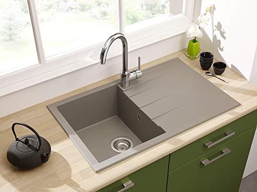 respekta HOUSTON80X50G, 60% Verbundmaterial aus Mineralstoffen und Glasfasern, 40% Kunstharz, Betongrau, 80 x 50 cm