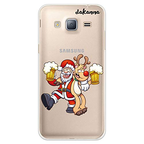 dakanna Custodia Compatibili con [Samsung Galaxy J3 - J3 2016] Sfondo Trasparente con Disegni [Babbo Natale e Renne bevono Birra] in Morbida Silicone TPU Flessibile, Shell Case Cover in Gel