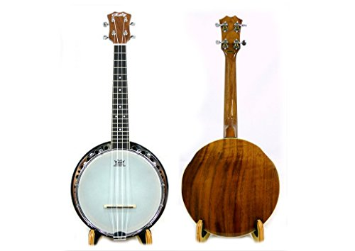 Rally Walnut Concert Banjo Ukulele, Chrome Surface, Including One New Hard Case