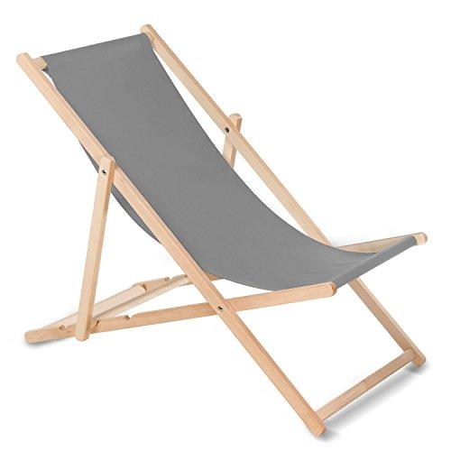 GreenBlue Liegestuhl Sonnenliege Klappbar aus Buchholz ohne Armlehne in 10 Farben Sonnenliege Gartenliege Liege (Grau)