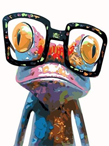 PaintXYZ DIY Malen Nach Zahlen DIY Anzahl Malerei Kits Brillen Bunter Frosch Für Erwachsene Kinder 40X50CM-With Frame