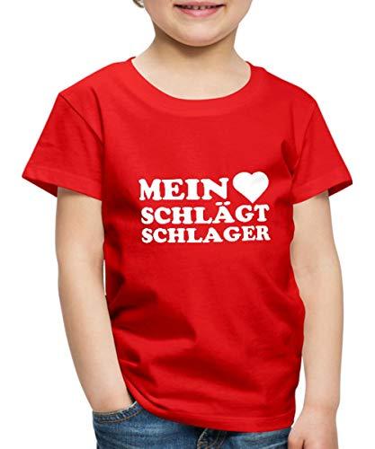 Mein Herz Schlägt Schlager Schlagermusik Kinder Premium T-Shirt, 134-140, Rot