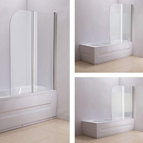 CLP Nano Duschabtrennung für die Badewanne Anschlag rechts | Faltbarer Badewannenaufsatz aus Sicherheisglas | 2 teilige Duschwand milchglas