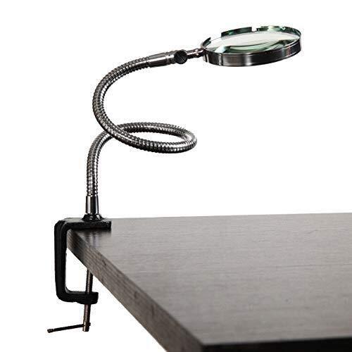 Ldwxxx Lupas Joyería 10X Lámpara de Aumento con el Metal de la Abrazadera de Escritorio de Aumento de Vidrio Manos Libre for la Lectura electrónica Asamblea 100MM