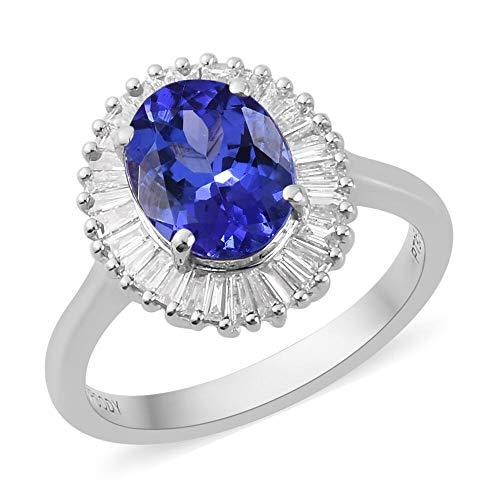 Rhapsody Platinum Tanzanite, Diamond Platinum Over Halo Ring Size 7.5 TGW 2.5 ctw