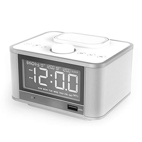 YYZLG Bluetooth Speaker Alarm Klok Multifunctionele Mobiele Telefoon Draadloos Opladen Nachtkastje Radio Stereo, size, Kleur: wit