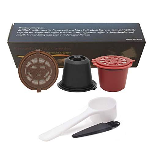 Rolin Roly 3 Pack Kaffeekapsel Wiederverwendbare für Nespresso Maschinen mit 1 Plastiklöffel und 1 Reinigungsbürste Gefüllt Werden Coffee Capsule