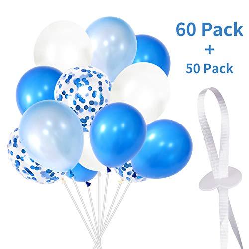 ZOYJITU Globos de Boda, Globos de cumpleaños, 60 Unidades, Color Azul y Blanco, con 60 Cierres de Globo, Helio con Banda de poliéster, Color Blanco, para niños, niñas, Fiesta de cumpleaños