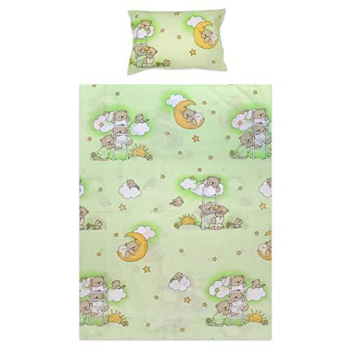 BlueberryShop Bettwäscheset fürs Kinderbett, Bettbezug 120 x 90 cm, Kissenbezug 40 x 60 cm, Für Kinder von 0-7 Jahren geeignet, Grün Bär auf Leiter