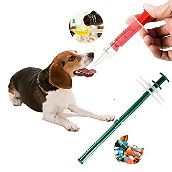 QUNQUNJIE Cat Pill Shooter Soft Pet Piller/Pill Popper Durable and Reusable Pet Pill Gun with Liquid & Capsule Syringes Tips 2Pcs/Set Pet Pill Syringe for Pets Dogs Cats Small Animals.