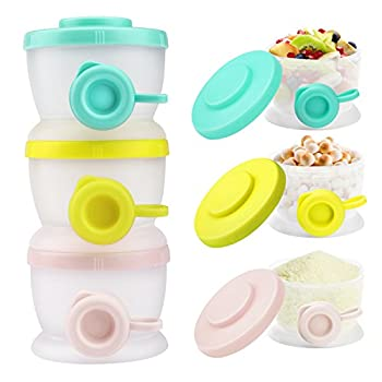 Zooawa Baby Formula Dispenser Non-Spill Stackable Milk Powder Formula Container Formula Holder Snack Fruit Biscuits Storage for Travel On-The-Go BPA Free 3 Compartments