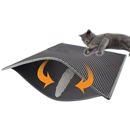 Boniuiu Kattenlo mat, opvouwbaar, dubbellaags, waterbestendig, met honingraatpatroon, beschermt vloer en tapijt, gemakkelijk te reinigen, 40 x 50 cm