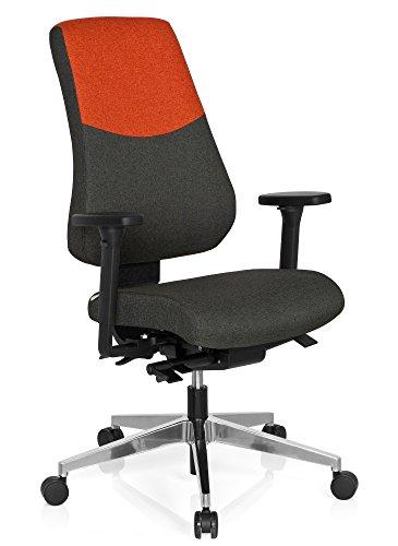 hjh OFFICE 608825 Profi Bürostuhl PRO-TEC 600 Stoff Grau/Rot Drehstuhl ergonomisch, Rückenlehne & Armlehnen verstellbar