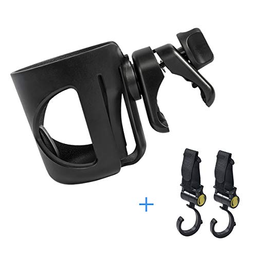 Stroller Cup Holder,Universal Pram/Pushchair Cup Holder,360 Degrees Rotation Adjustable Baby Bottle Organizer.Suitable for Strollers and Bicycles, Wheelchair. 2 Free Stroller Hook.