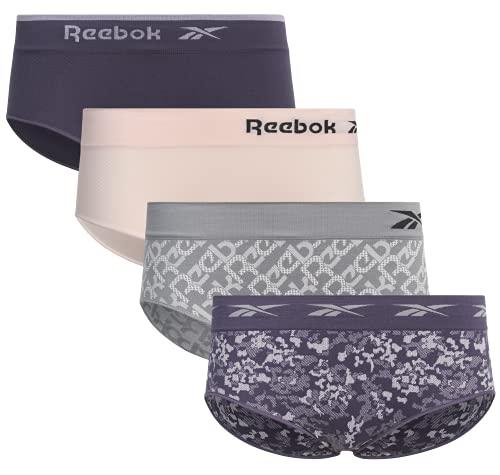 Reebok Women?s Underwear ? Seamless Hipster Briefs (4 Pack), Size Small, Grey/Blue/Pink/Print