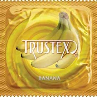 Trustex Banana Flavored Lubricated Latex Condoms with Pocket/Travel Case-24 Count (Silver Case)