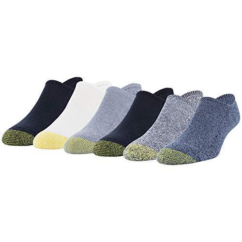 Gold Toe Men's Davenport Invisible Socks, 6-Pairs, Denim Assorted, Large