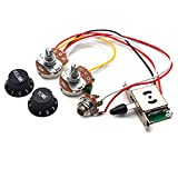 SAPHUE Guitar Wiring Harness Set Prewired 500K Big Pots 5 Way Switch Wiring Harness Kit with 6.35 Output/Black Knobs for Electric Guitar