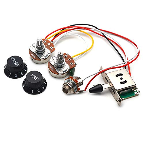 GETMusic Guitar Wiring Harness Set Prewired 500K Big Pots 5 Way Switch Wiring Harness Kit with 6.35 Output/Black Knobs for Electric Guitar