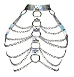 Women Punk Harness Bra Adjustable Cage Waist Belts Body Chest Harness Straps Roleplay Costume Clubwear(Silver)