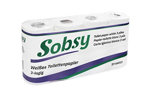 Sobsy 3 lagiges reißfestes Toilettenpapier aus reinem Zellstoff, 150 Blatt, 96 Rollen motivgeprägt, weich, 620 g