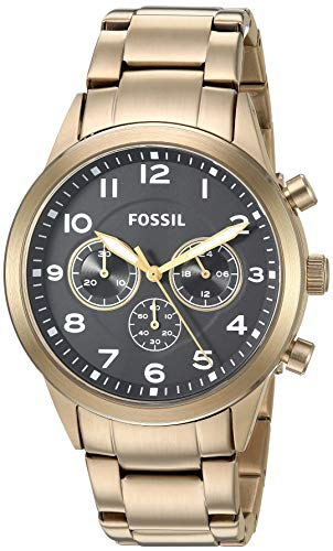 Fossil Men's Flynn Pilot Quartz Stainless Steel Gold with Black Dial BQ2121