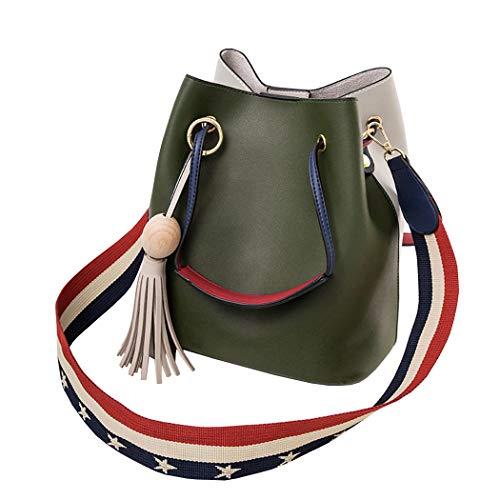 DEERWORD Damen Taschen Handtaschen Elegant Frau Schultertaschen Lack PU-Leder Henkeltaschen Grün