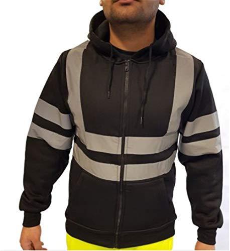 Werkkleding Hi Vis Viz Mens Zip Up Fleece Hoody Hooded Hi Viz Zichtbaarheid Sweatshirt Veiligheid Werk Jumper Top Black-L