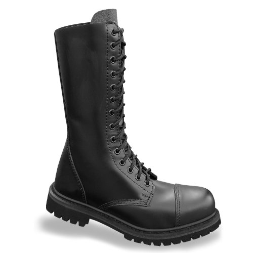 Mil-Tec - Invader 14 Loch Stiefel Boots Schwarz Stahlkappe Leder Schuhe Ranger Größe 41 (GB 7)