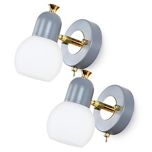 MantoLite Nordic Style 2 piezas coloridas lámparas LED de noche para dormitorio de niños, modernas luces de pared de vidrio con interruptor (gris, bombillas LED E14 de 5 W incluidas)